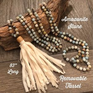 "Amazonite Stone Bead Mala Necklace w/ Tassel 83"""